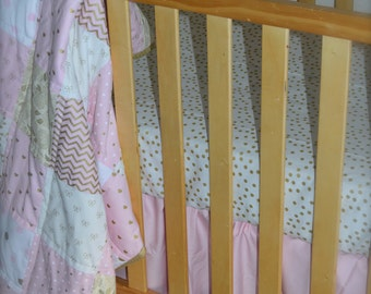 Pink and Gold Baby Bedding / Girls Crib Quilt