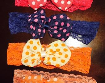 Lace puffer bow headband