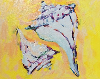 Original painting, acrylic, ready to hang, Whelks in yellow