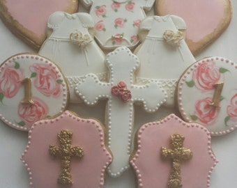 Garden Themed Sugar Cookies, First Birthday Cookies, Baptism cookies, Christening Cookies