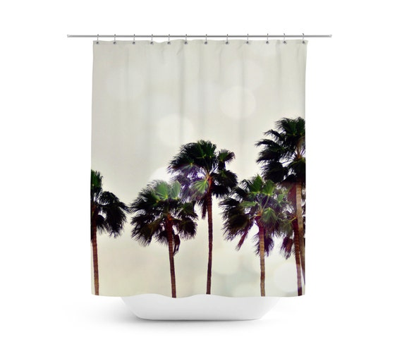 Items similar to Palm Tree Family - Shower Curtain, Light Gray Beach ...