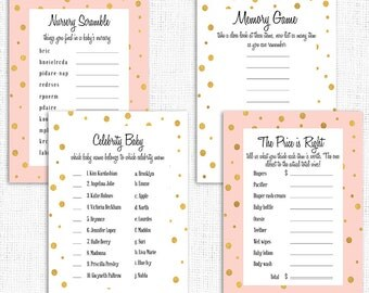 Pink Gold Baby Shower Party Pack Games, Girl Baby Shower Party Pack, Polka dots, Printable, Girl Baby Shower Games Pack, Instant Download