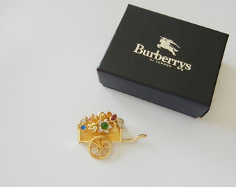 Vintage Burberry /Burberrys Of London Gold Tone Flower Wagon Pin Brooch, Signed w/Box