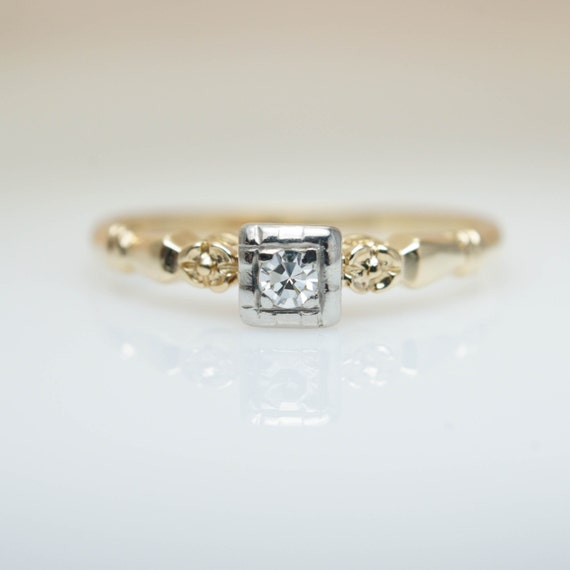 Petite Engagement Ring Simple Diamond Ring Vintage Engagement