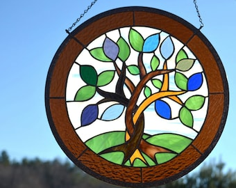 Hanging Stained Glass Window Art - Windsong Glass Studio