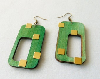 Geometric Earrings, Wood Earrings, Retro Jewelry