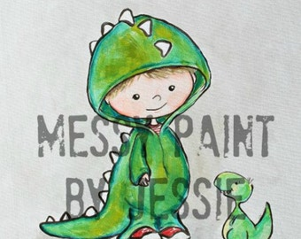 Dress Up with Dino/ Dinosaur Wall Art/ Boys room Art/ Nursery Wall Art/ Boys Nursery/ Original Painting