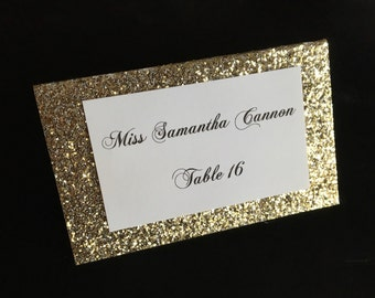 Gold Glitter Folded Printed Placecard Wedding Placecards