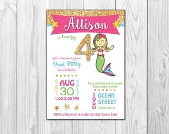 Mermaid Birthday Invitations  |  DIGITAL FILE