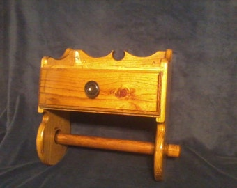 Wooden Paper Towel Holder with Drawer