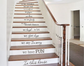 Stair Riser Decals | In this house | Stair Decals | Family Wall Decals | Vinyl Lettering | Staircase Stickers | Home Decor CE118