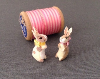 Dollhouse Miniature Velveteen Rabbit Toy Plush- fawn/fawn spotted