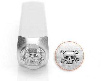 Skull and cross bone metal design stamp 6mm , ImpressArt , skull metal punch