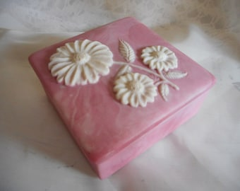 Vintage Incolay Pink Jewelry Trinket Box with White Flower on Lid