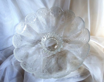 Vintage Pressed Crystal Glass Feather Bowl