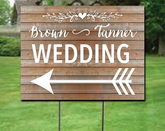 Custom Wedding Directions Yard Sign Double Sided Directions Sign Personalized Rustic Wedding Yard Sign with Stake