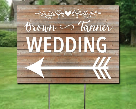 Custom Wedding Directions Yard Sign Double Sided Directions