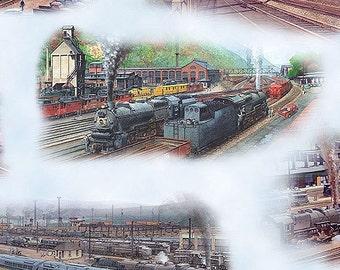 1/2 Yard Trains Scenic Elizabeth's Studio Fabric Free Shipping