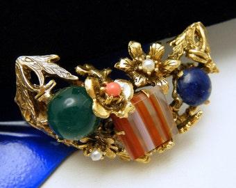 Vintage Art Glass Brooch Faux Gemstones Flower Foliate Design Nice Quality