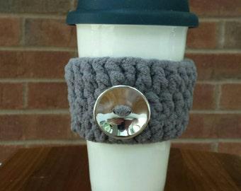 Handmade Crochet Gray Coffee Cozy with Silver Button, Tea Cozy, Cup Cozy, Cup Cozies