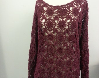 SALE 30% OFF [New price 31.50], Vintage Crocheted Wine Open Knit Sweater