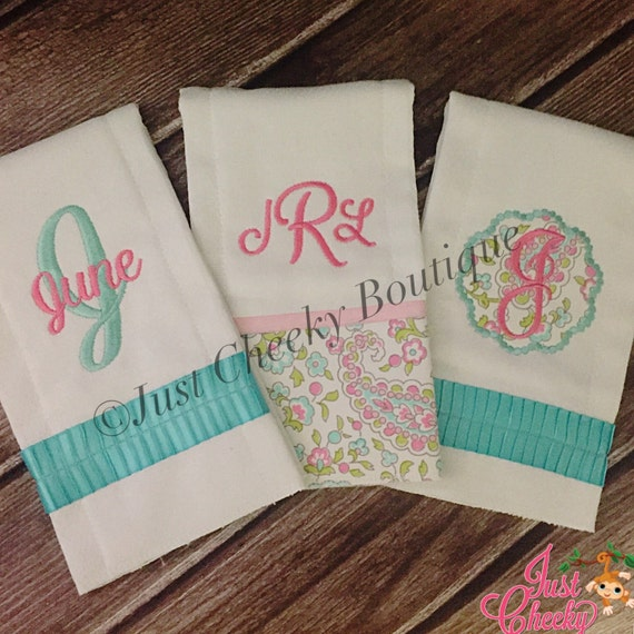 Monogrammed Burp Cloths - Baby Shower Gift - Bringing Baby Home - Personalized Burp Cloths