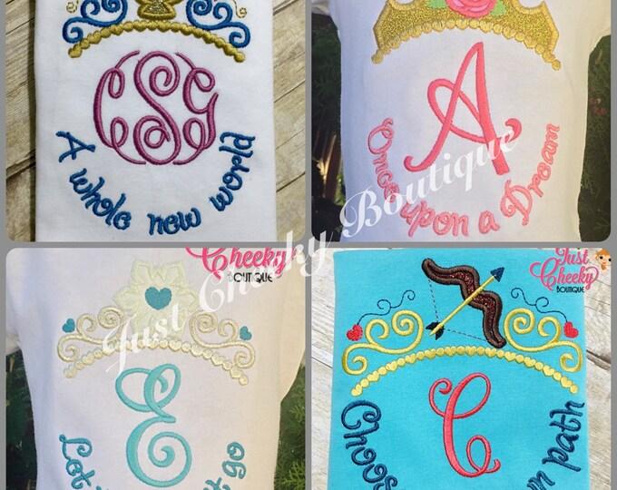 Disney Inspired Princess Crown with Monogram - Disney Princess Tiara - 1st Disney Vacation - Monogrammed Shirt