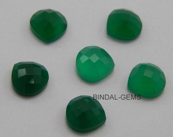 15 Pieces Wholesale Lot Green Onyx Heart Shape Checker Cut Gemstone for Jewelry