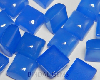 15 Pieces Lot Blue Chalcedony Square Shape Loose Smooth Polished Gemstone