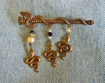Vintage Brass Snakes Brooch