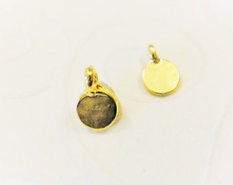 2 pc. Vermeil, 18k gold over 925 sterling silver tiny small discs, vermeil small discs, shiny gold tiny discs