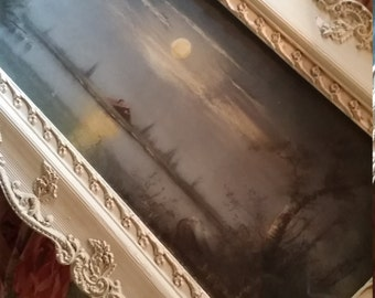 Antique Painting Landscape Night