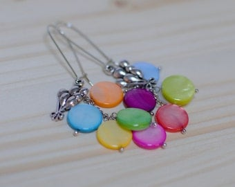 Earrings let go of multicoloured balloons - Pearl - silver metal - air