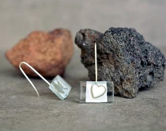 Heart earrings, Romantic artisan earrings, Silver heart dangle, Rectangle earrings, Sterling silver hook, Art jewelry, Unique earrings