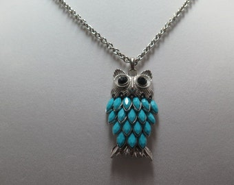 Cute Silver Tone and Turquoise Owl Necklace