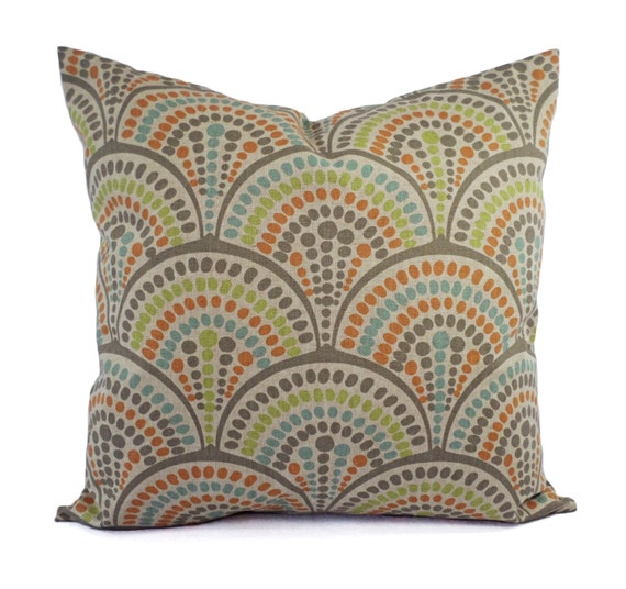 Small Green Decorative Pillow : Orange Green and Blue Decorative Pillow Covers Two Geometric