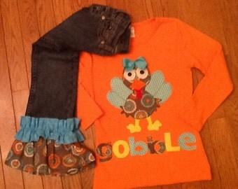 Fall Winter Turkey double Ruffle Jeans Top 12 18 24 2 3 4 5 6 7 8 10 12