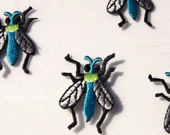Green Blue Fly Applique, Vintage Embroidered Applique Fly, Iron On Embroidery Appliques Wholesale #1270