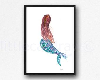 Mermaid II Painting Abstract Print Minimalist Watercolor Mermaid Art Print Watercolour Mermaid Painting