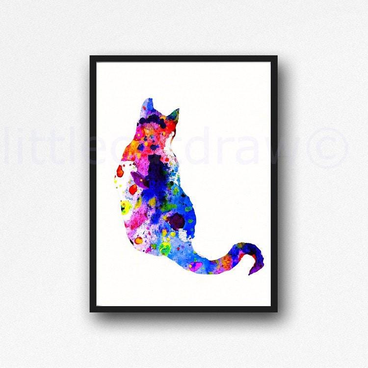 Colorful Cat Print Watercolor Painting Art Print Bright