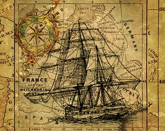 vintage nautical ship art print