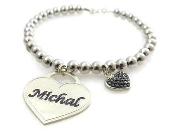 Name bracelet. Heart silver bracelet. Silver heart bracelet. Beaded name bracelet. Personalized bracelet. Sterling silver bracelet.Large 5mm