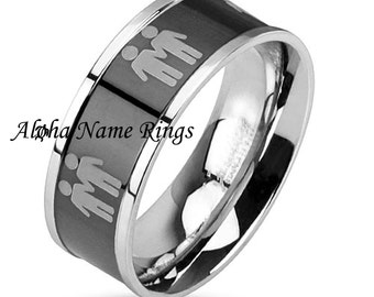 personalized stainless steel 8mm lgbt promise ring with two male symbols black center anr m3042 - Gay Mens Wedding Rings