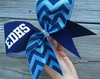 Chevron bow with your team name/mascot/your number etc. available in any color .