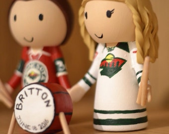 Ice Hockey Jersey Drummer Couple - Groom and Bride Wedding Cake Topper Custom Made