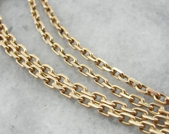 Rectangular Link: Long Yellow Gold Chain  L6TV0Y-N