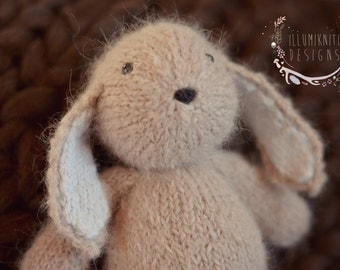 Knit Bunny Stuffy Prop - Bunny Prop for Newborn Photography - Baby Bunny Stuffed Toy - Knitted Bunny Prop Newborn Stuffie - Made to Order