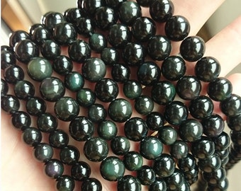 rainbow obsidian beads, natural obsidian gemstone beads round loose beads for jewelry making 8mm 10mm