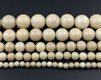 natural ivory white fossil jasper beads, stone beads round loose gemstone beads for jewelry making 4mm 6mm 8mm 10mm 12mm 14mm A