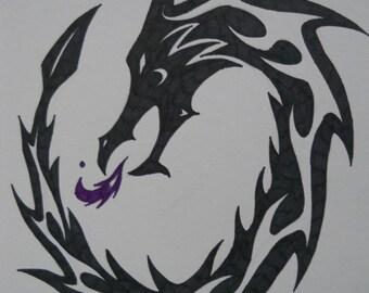 Curled Dragon Tribal Tattoo design